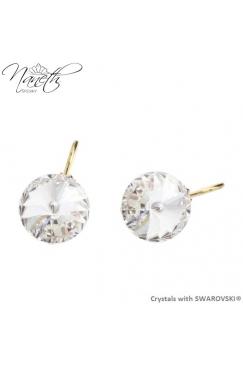 Obrázok pre Pozlátené náušnice Rivoli s bielymi kryštálmi Swarovski Crystal 28677b2d68b